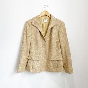Akris Punto Yellow Wool Blend Blazer Size 16